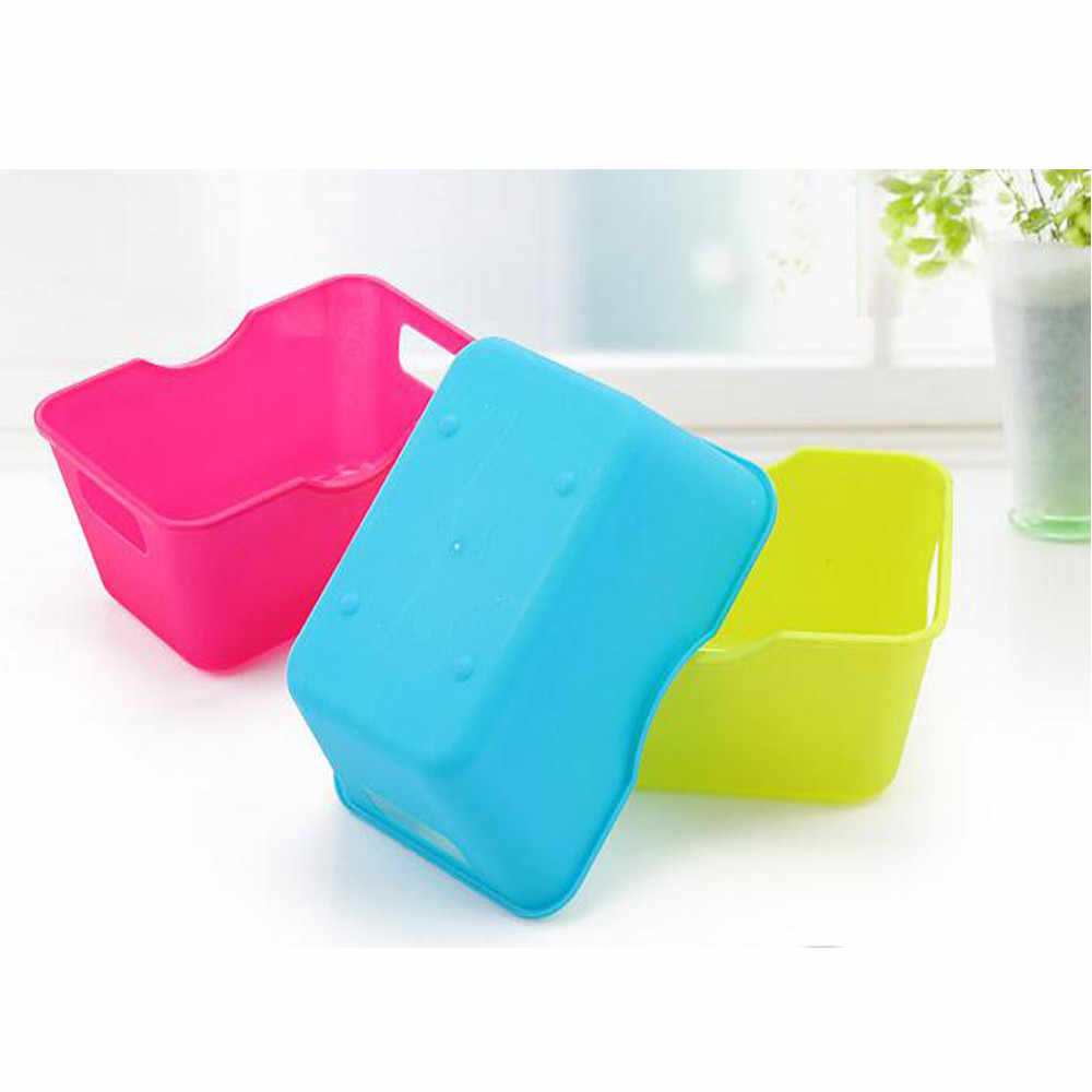 Colorido cesta de armazenamento Desktop Do Escritório de Plástico Caixas De Armazenamento Organizador de Maquiagem Caixa de Armazenamento cesta de armazenamento panier de rangement