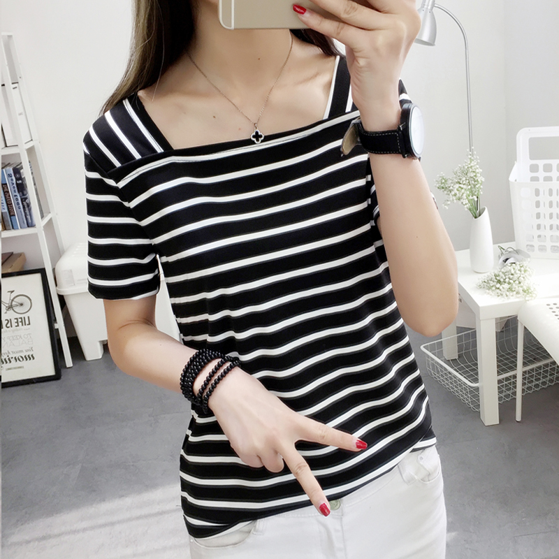 Mozhini Casual Top tee shirt Women short Sleeve Casual T Shirt Striped Black and White Summer T-shirt Woman Cloth Tops Tee Shirt