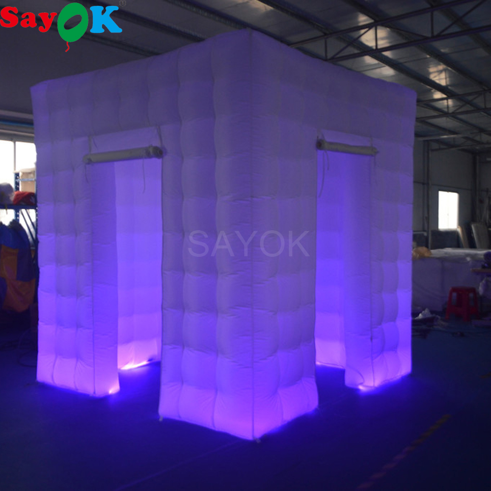 Sayok Portable Inflatable Photo Booth Tent White 2.5x2.5x2.5M with 17 Color Changing Lig ...