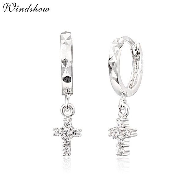 Real 925 Sterling Silver Cz Cross Charm Drop Small Circle Huggies Hoop Earrings Cute Jewelry For