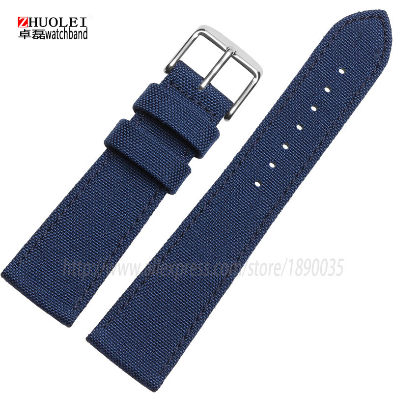 Wholesale Prices Black Red Blue 18mm 20mm 22mm 24mm Canvas Genuine Leather Inner Watchband Two Parts Watch Strap Nylon Watchband