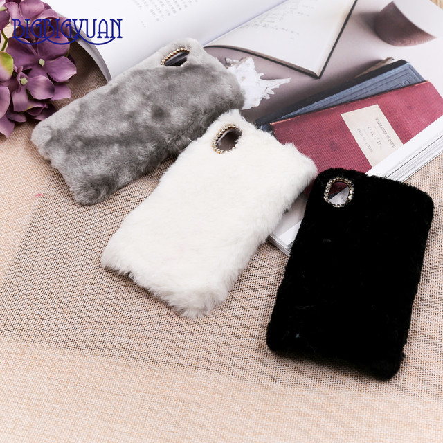promo code f17dc c01a7 US $4.84 |New Case for iphone X Rabbit Fur Hair Phone Cover Luxury Colorful  Shell Cute Hairy Back Cover Capa Bling Diamond Slim Phone Bag-in ...