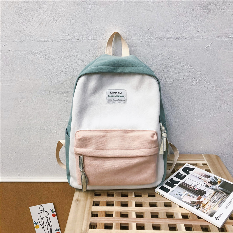 Canvas Women Backpack Patchwork Casual Double Shouler Backpacks School Bags For Teenagers Girl Mochila Feminina Students Satchel