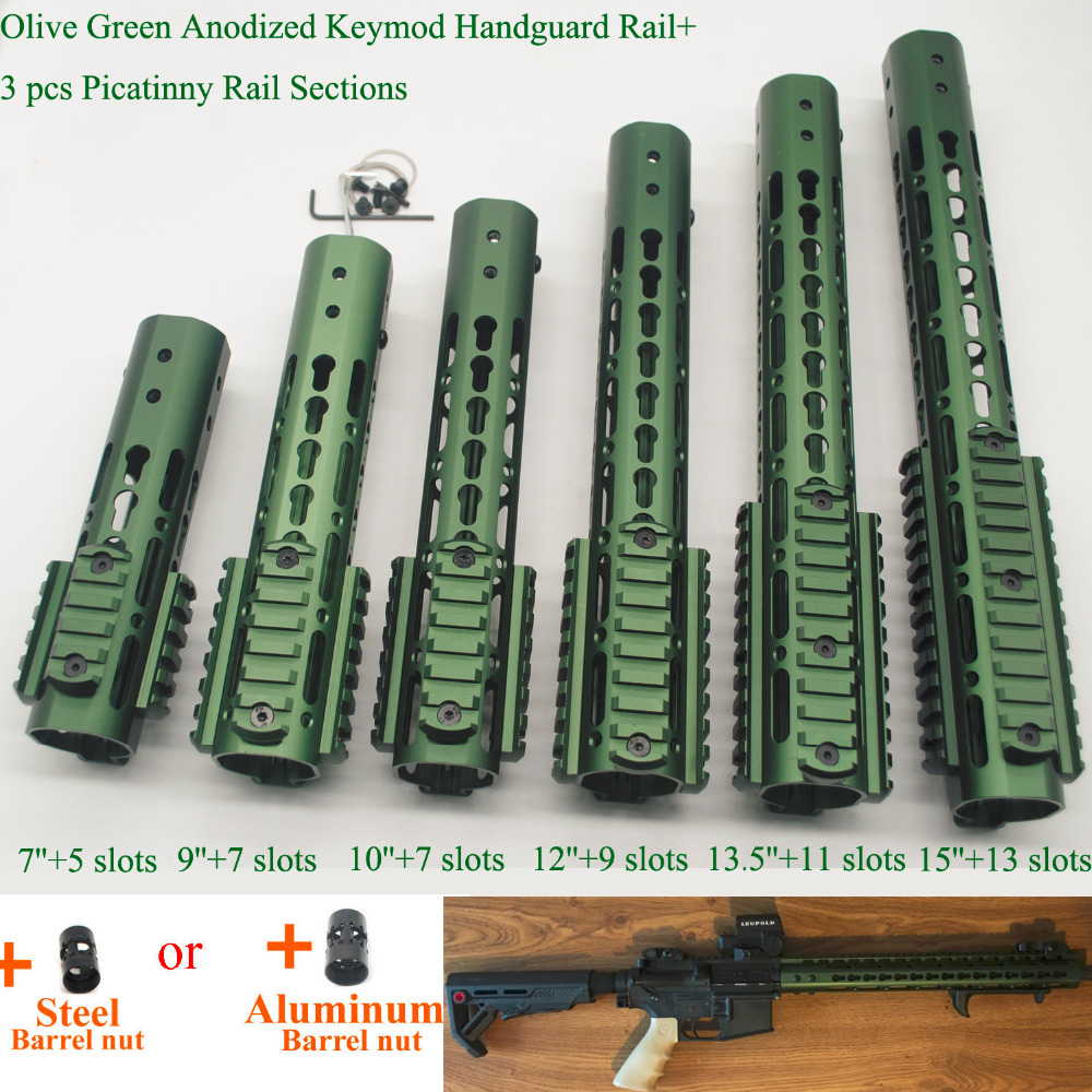 Aplus 7/9/10/12/13.5/15'' Inch Keymod Handguard Free Float Picatinny Rail Mount Section System_Olive Green Anodized