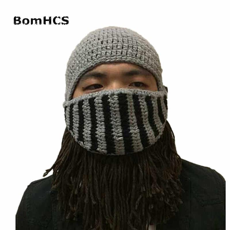 556d0c5e6f4 ... BomHCS Funny Winter Warm Beard Hats Cosplay Roman Knight Knit Helmet  Original Barbarian Handmade Beanies Men s ...