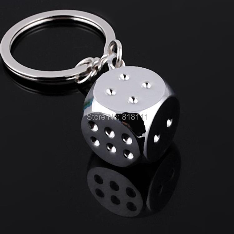 cool key chain dice metal keychain creative keyring alloy metal key