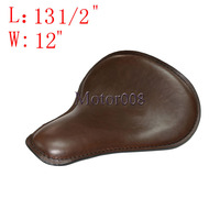 13 1/2 x 12 Brown Large Leather Seat Motorcycle Solo Slim For Harley Bobber Chopper Custom Honda Yamaha Suzuki Kawasaki