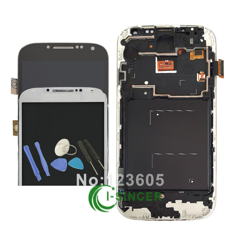 ФОТО LCD Display touch Screen For Samsung for Galaxy S4 i9505 LCD Digitizer Assembly with frame Replacement Parts + Tools