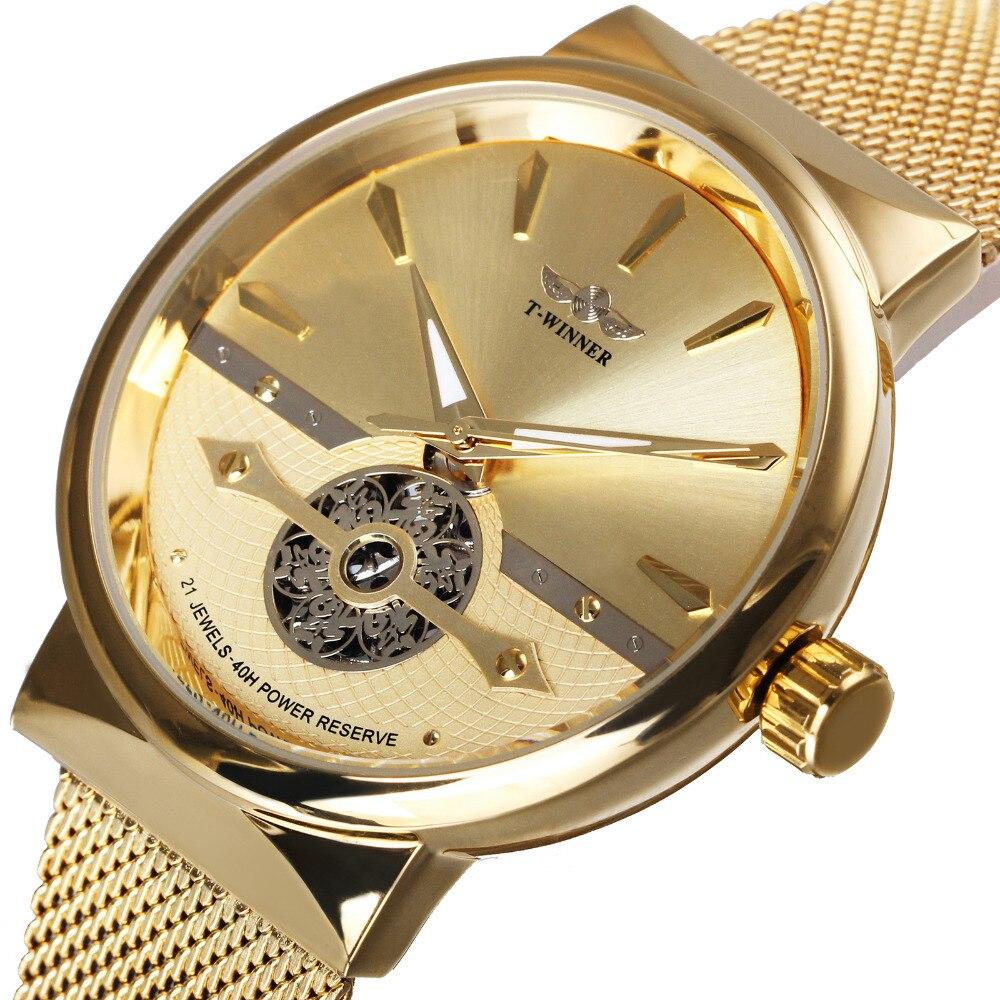 где купить WINNER Ultra Thin Men Watch Automatic Mechanical Golden Mesh Strap Fortune Skeleton Dial FORSINING Wristwatch Gift of Best Bless по лучшей цене