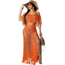 цена на Slash Neck Knit 2 Piece Set Women Tassel Two Piece Crop Top and Skirt Set Sexy Crochet Beach Summer Outfit