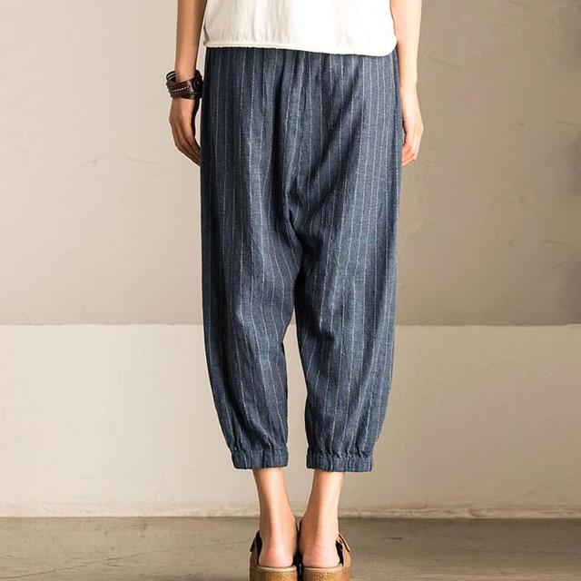 2018 ZANZEA Women Casual Vintage High Elastic Waist Pockets Striped Baggy Harem Pants Turnip Trousers Work OL Wide Leg Pantalon