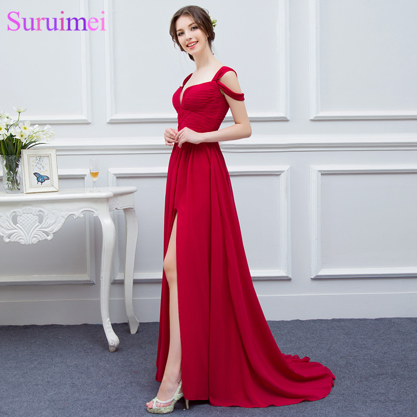 Elegance Red Girls Evening Gown Low Cut High Slit Semi Formal Long Chiffon  Evening Dress-in Evening Dresses from Weddings   Events on Aliexpress.com  ... a1c0a0542967