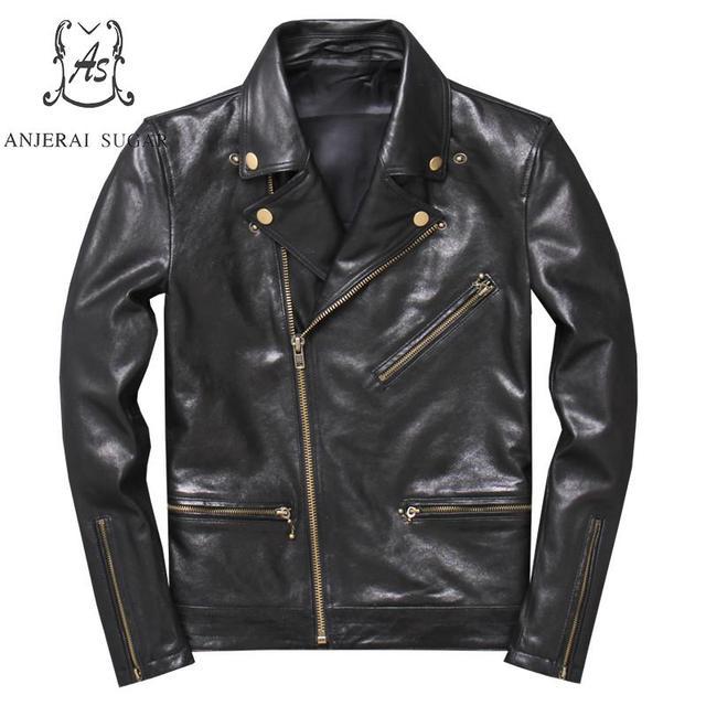Plus Size real sheepskin genuine leather jacket men black Vintage Turn-down Collar zipper Moto Bike Motorcycle coat Punk jackets