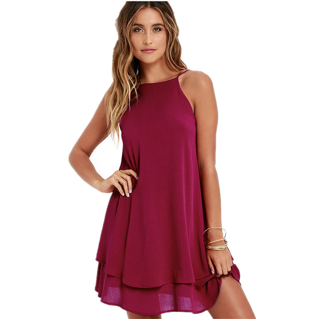 21b4ee2296fc1 Aliexpress.com : Buy 2018 Women Dress Summer Backless Solid Color Loose  Dress Strap Sexy Dresses from Reliable loose dress suppliers on Windkiss  Store