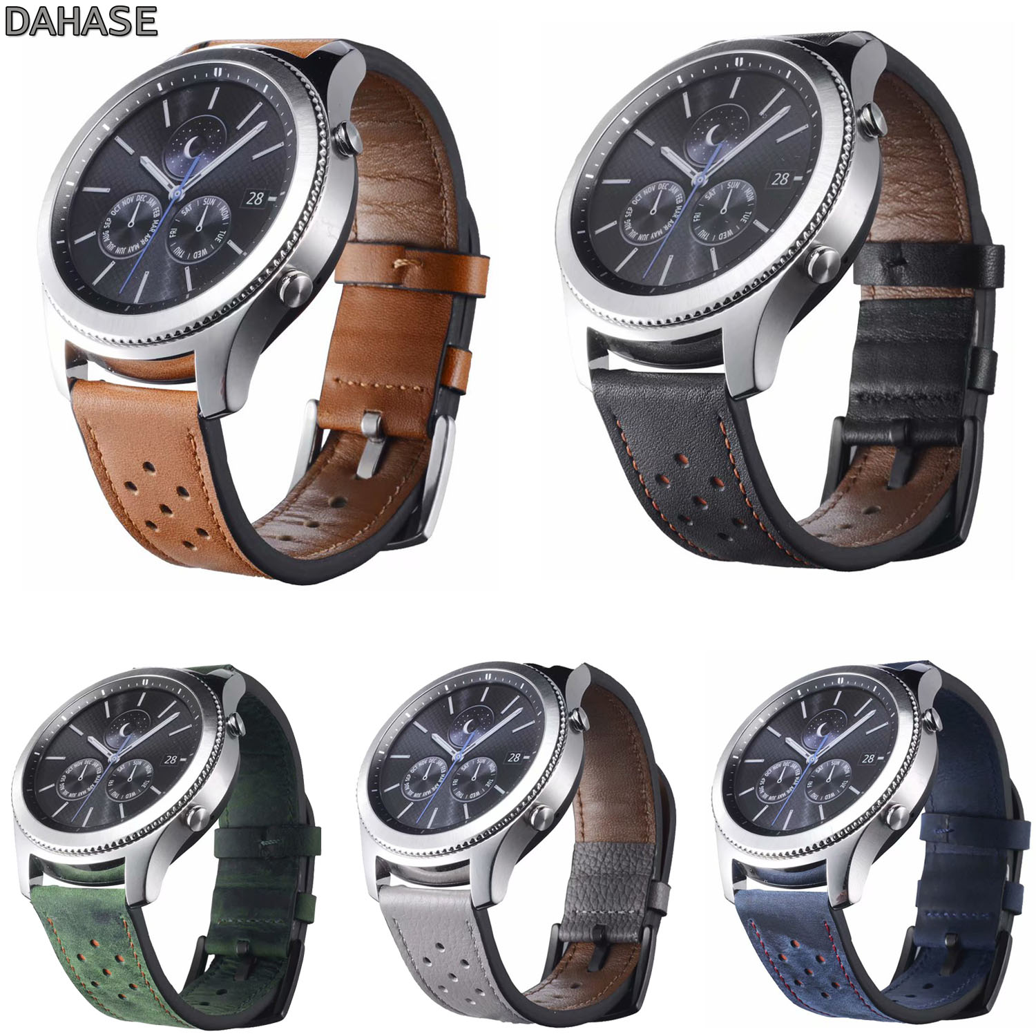 DAHASE Genuine Leather Watch Strap For Samsung Gear S3 Band Replacement Hole Watch Bracelet For Gear S3 Classic Frontier 22mm gear s3 frontier classic watch band 22mm soft silicone man watch replacement bracelet strap for samsung gear s3