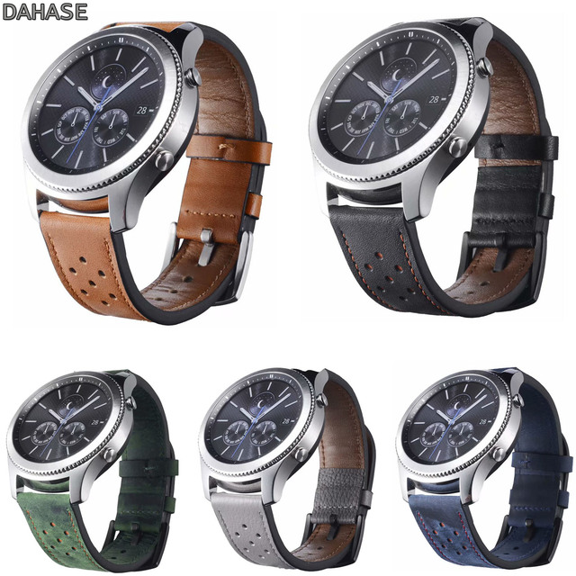DAHASE Genuine Leather Watch Strap For Samsung Gear S3 Band Replacement Hole Wat