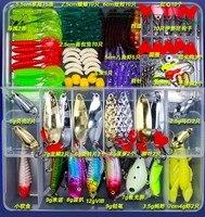 Atacado Iscas De Pesca Duro Macio Iscas Popper Minnow Vib Colher Cabeça de Jig Isca Caixa de Kit Conjunto de Pesca equipamentos de Pesca Acessórios FU84