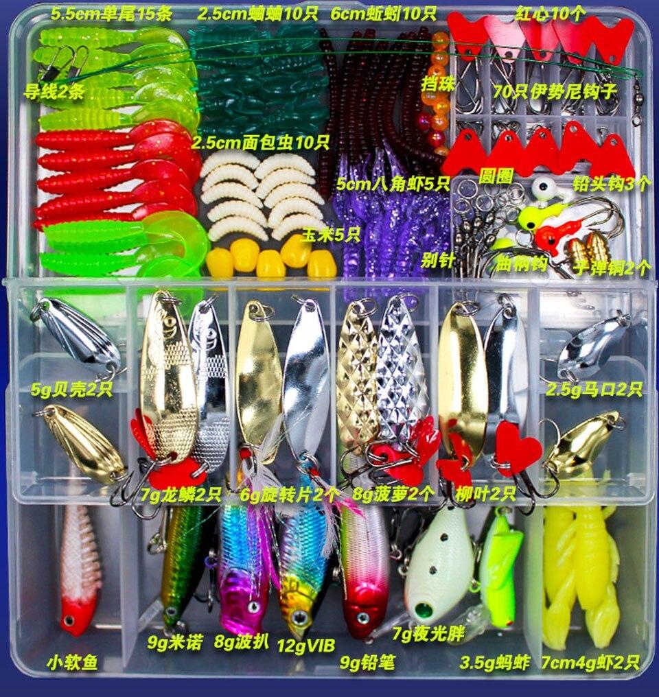 Wholesale Fishing Lures Hard Soft Lures Popper Minnow Vib Spoon Jig Head Bait Set Kit <font><b>Box</b></font> Pesca Fishing Tackles Acessories FU84