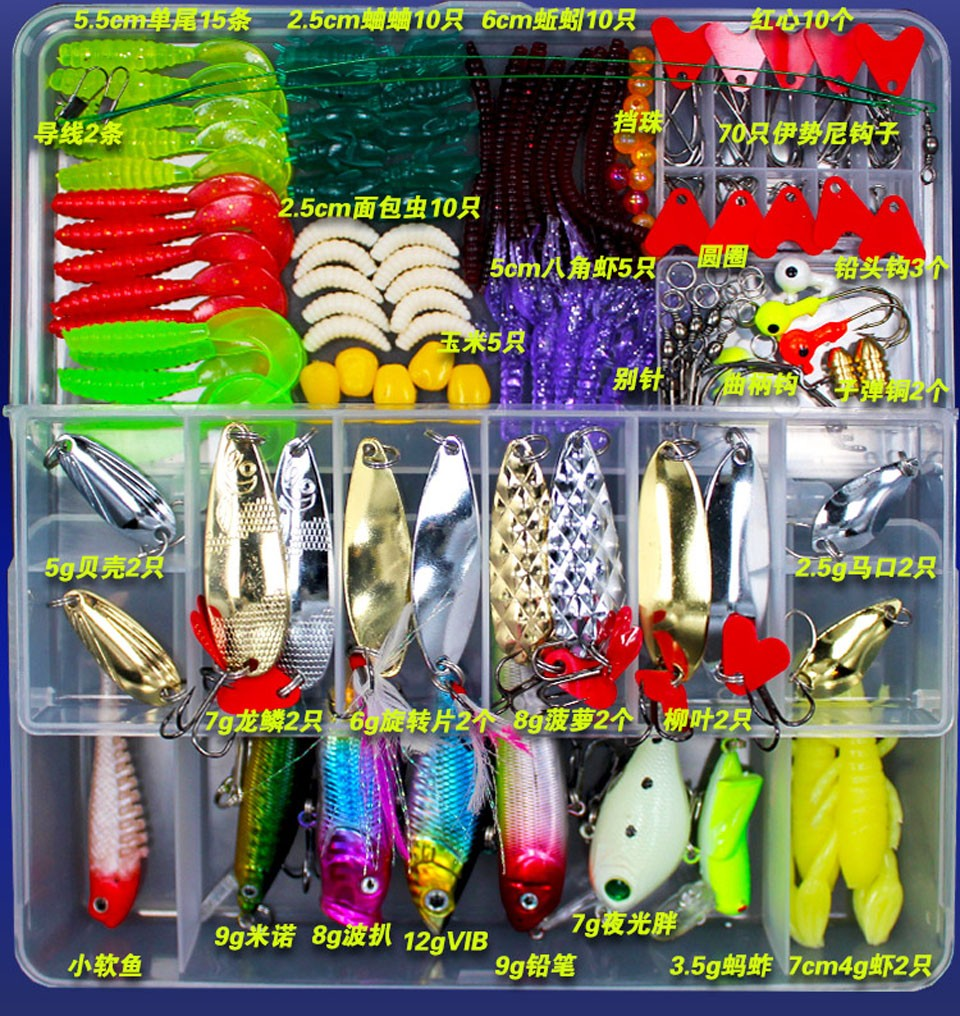 Wholesale <font><b>Fishing</b></font> Lures Hard Soft Lures Popper Minnow Vib Spoon Jig Head Bait Set Kit Box Pesca <font><b>Fishing</b></font> Tackles Acessories FU84