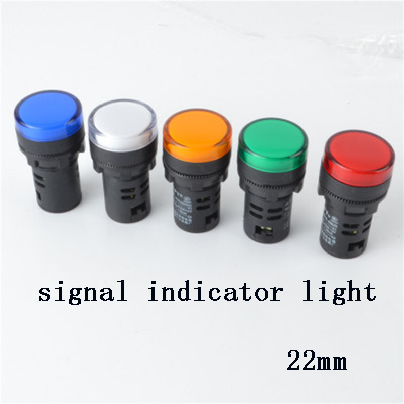 LED Plastic Indicator light 22mm waterproof Signal lamp POWER LIGHT DC12V DC24V AC220V red yellow green indication light analog watch