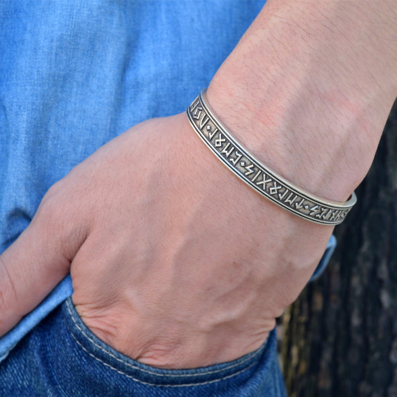 1pc Men s Viking Rune Bracelet Handmade Nordic Rune Bangle Mythology Viking Jewelry Wristband Line Cuff