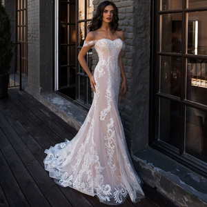 Image 5 - Jiayigong Sexy Mermaid Wedding Dress Off the Shoulder Sleeveless Applique Lace Wedding Gowns Robe De Mariage for Bride