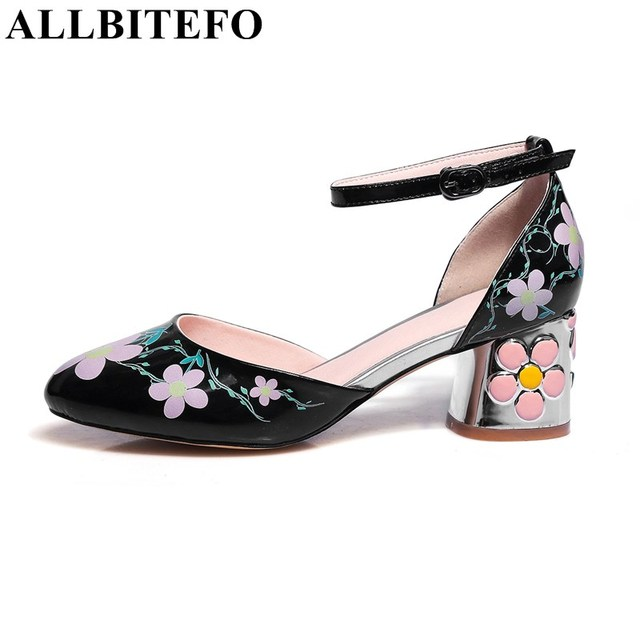 ALLBITEFO Sweet Flowers Ankle Buckle Thick Heel Pumps