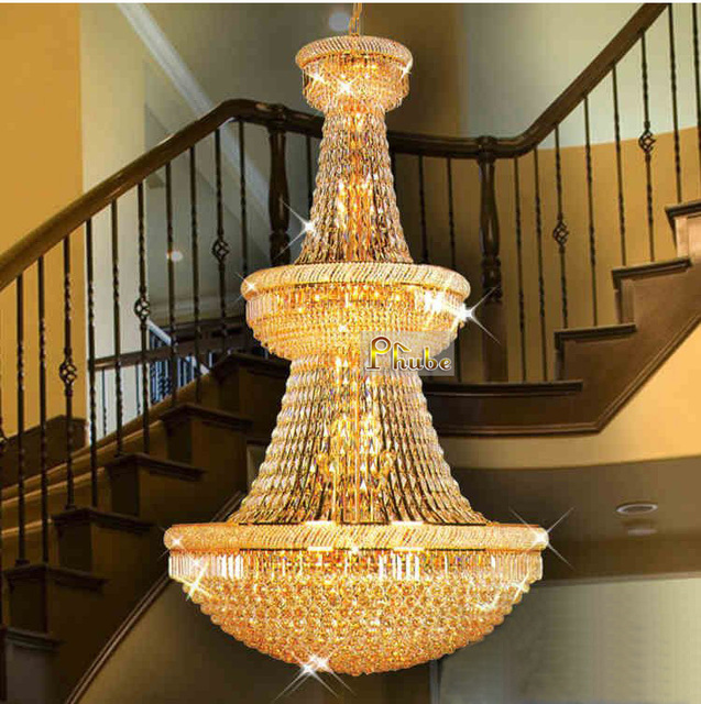 Large Foyer Crystal Chandelier Light Fixture Gold Chrome Used In Villa Hotel Duplex