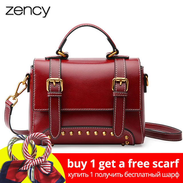 Zency New Model Women Tote Bag 100% Genuine Leather Handbag Brown Fashion Lady  Messenger Purse Crossbody Flap With Rivets 3d260d4d5bcab