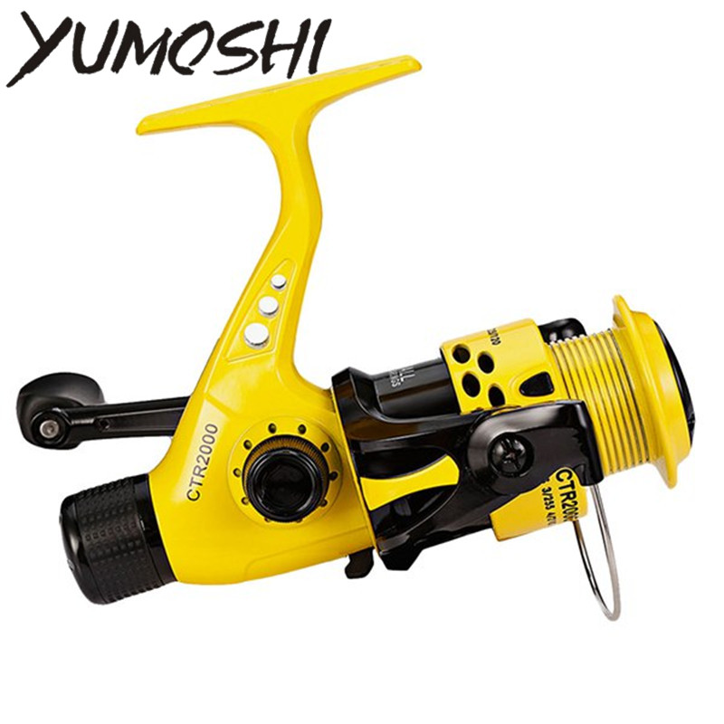 YUMOSHI CTR2000-7000 12BB 5,5: 1 carrete de pesca plegable ligero brazo basculante trasero de arrastre carrete de plástico de pescado Girando las ruedas
