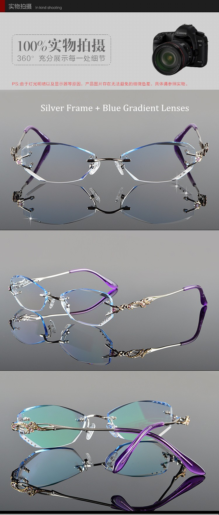 aff9ef9010 Luxury Tint Lenses Myopia and Reading Glasses Diamond Cutting Rimless  Prescription Glasses Frame for Women