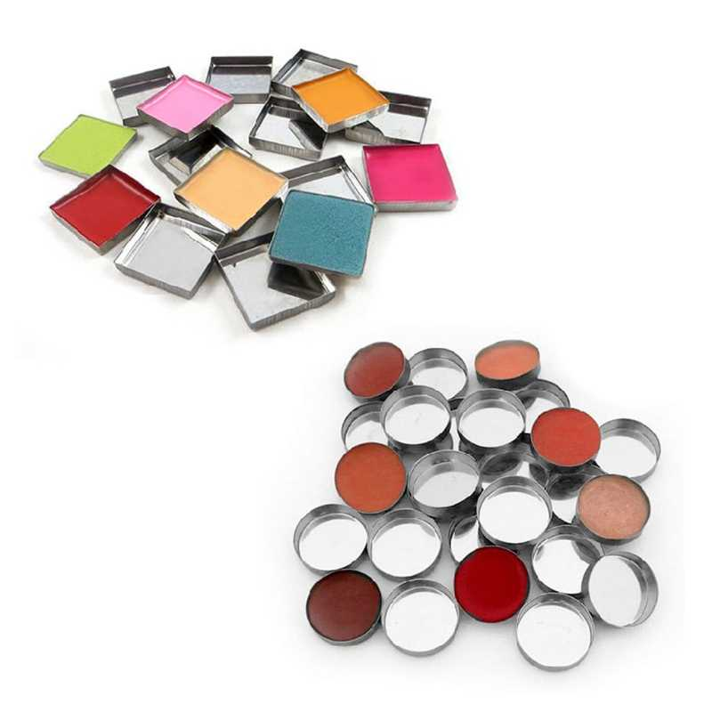 HUAMIANLI 10 Pcs New 3 Size Empty Magnetic For Eye Eyeshadow Shadow Makeup Powder Fundation Refill Palette Silver