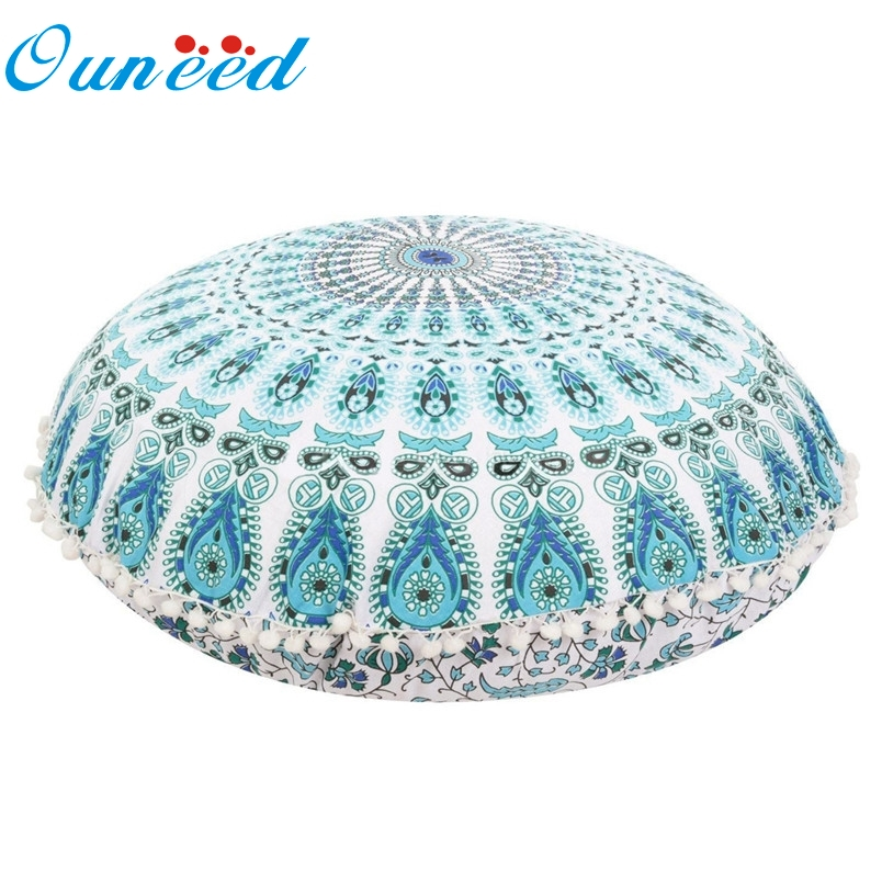 ouneed 1pc large mandala floor pillows round bohemian meditation pillow case cover ottoman pouf 10