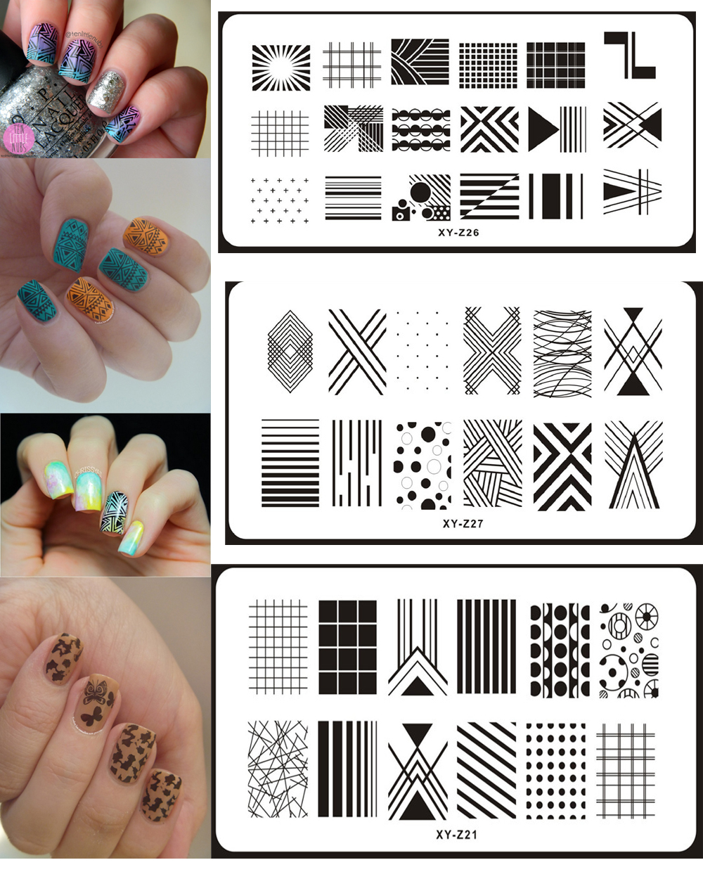 1Pcs Rectangle 20 Styles Nail Stamping Template Plates Image DIY 6*12CM Nail Art Plate Stamp Manicure Stencils Transfer Tool