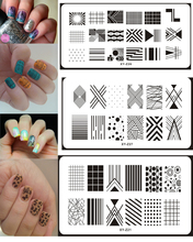 1Pcs Rectangle 20 Gaya Kuku Plat Stamping Imej DIY 6 * 12CM Nail Art Plate Stamp Manicure Stencils Transfer Tool