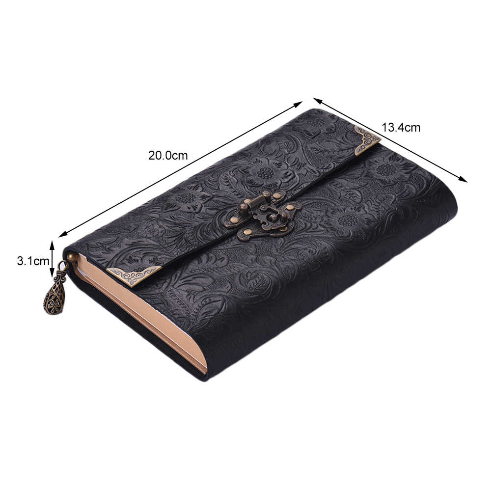 Embossed Pattern Soft Leather Travel Notebook with lock and Key Diary Notepad Kraft Paper for Business Sketching & Writing