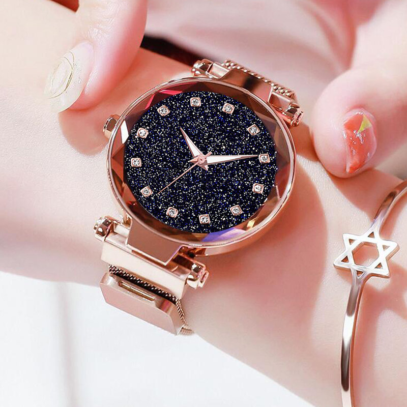Fashion Starry Sky Women Watches Magnet Buckle Stylish Rose Gold Female Casual Quartz Wristwatch Unique Lady Girls Clock Gift Наручные часы