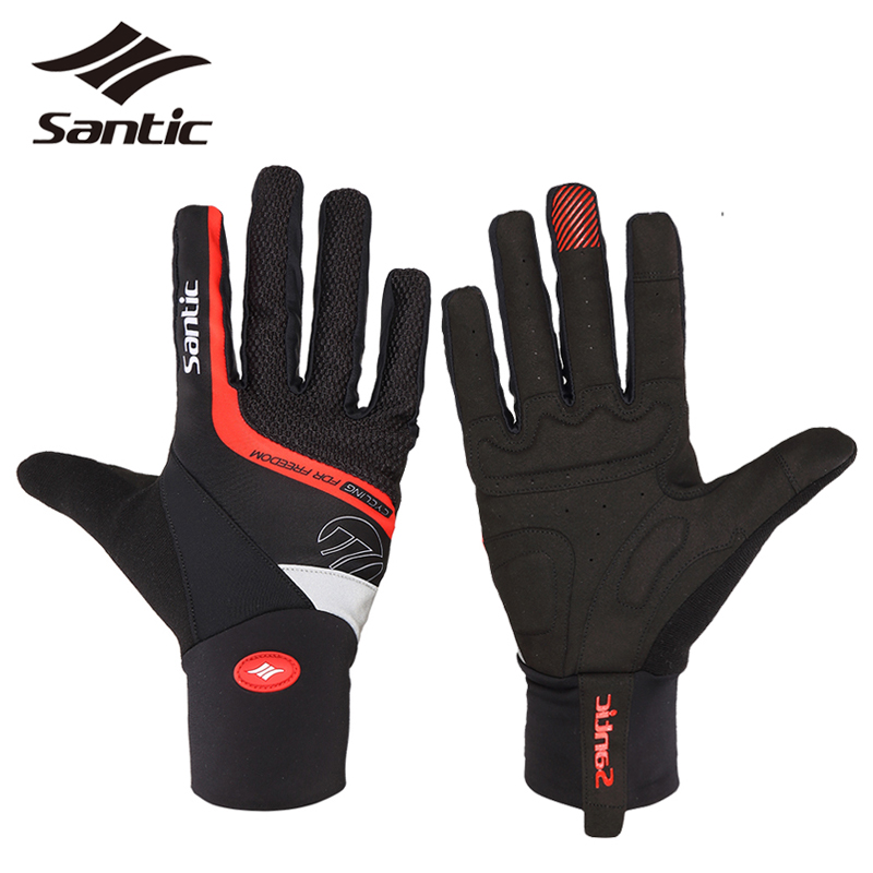 SANTIC Winter Thermal Full Finger Cycling Gloves SBR Padded MTB Road Mountain Bike Bicycle Gloves Sport Gloves Luvas Ciclismo simpleyourstyle default e packet 10 15 business days from china to usaoutdoor sports gloves tactical mittens men women winter keep warm bicycle cycling hiking gloves full finger military motorcycle skiing gloves