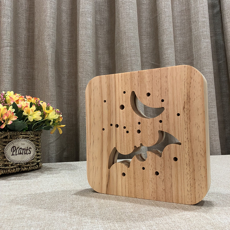 Creative Bat 3D Wooden Lamp Warm White LED USB Night Light Home Decoration Children Birthday Holiday Christmas Gift W3D-06 icoco usb rechargeable led magnetic foldable wooden book lamp night light desk lamp for christmas gift home decor s m l size