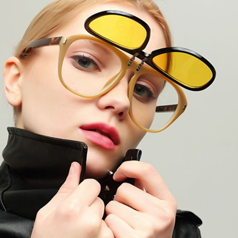 Women Sunglasses 2018 Double decker cover Steak punk Glasses Red Yellow Clear glasses Oversize Retro Vintage Sunglasses Men