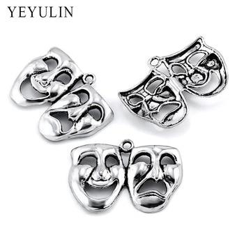 10pcs Charms mask theatre comedy tragedy art Antique Making pendant fit,Vintage Tibetan ,DIY bracelet necklace 32*20mm