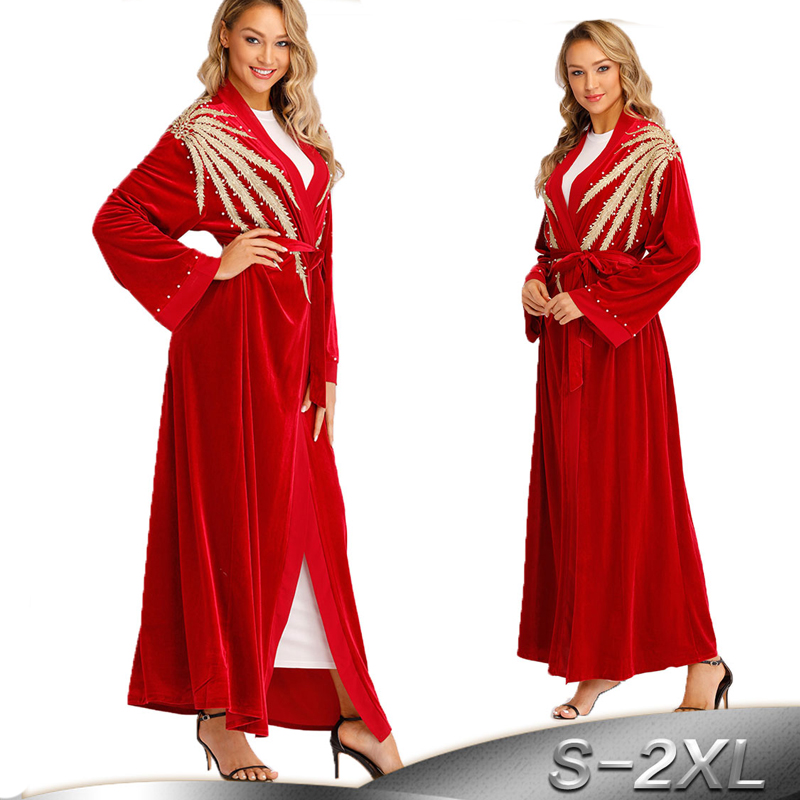 Red Kaftan Abaya Turkey Robe Dubai Cardigan Muslim Hijab Dress Abayas For Women Qatar UAE Caftan Turkey Elbise Islamic Clothing