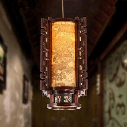 Traditional Chinese style creative carved wood art Pendant Lights Classical rural house lamp for corridor&porch&stairs MYR014 southeast asia style hand knitting bamboo art pendant lights modern rural e27 led lamp for porch