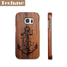 Techase полный деревянный телефон чехлы для Samsung Galaxy S6 край чехол якорь/Скелет/Волк Вернуться Чехлы для Samsung Galaxy S7 случаях