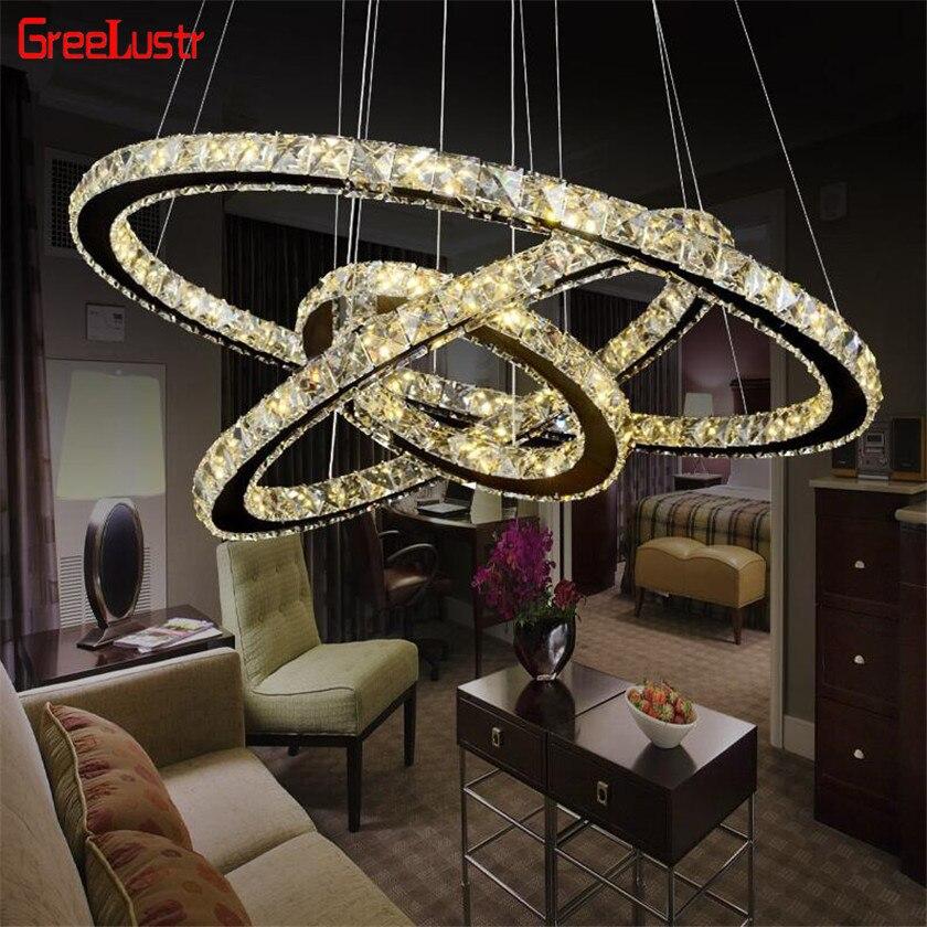 Modern Rings Led Crystal Chandelier Hanging Lighting Crystal Lustre Pendant Lamparas Ceiling Fixtures Luminaire For Living Room