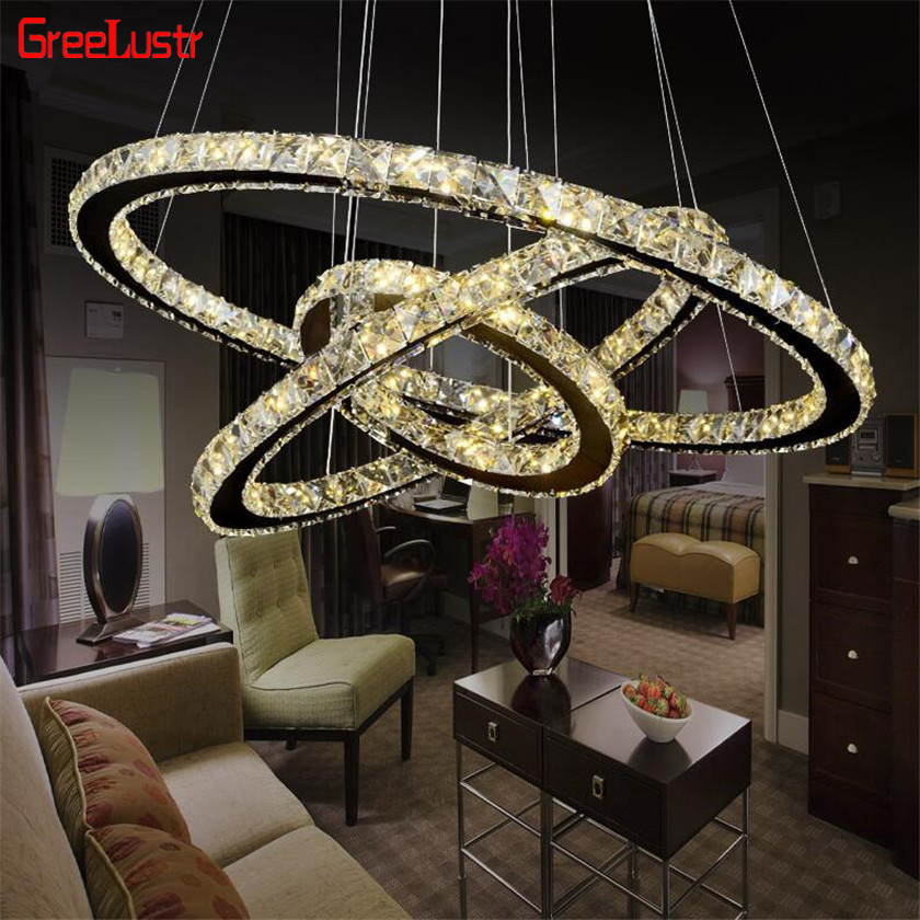 Modern Rings Led Crystal Chandelier Hanging Lighting Crystal Lustre Pendant Lamparas Ceiling Fixtures Luminaire For Living Room