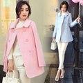 2016 Nuevo de Las Mujeres Lana Mezclas Escudo Doble de Pecho Han Fan Pequeño Perfume Abrigos prendas de Vestir Exteriores de Color Rosa Azul 885