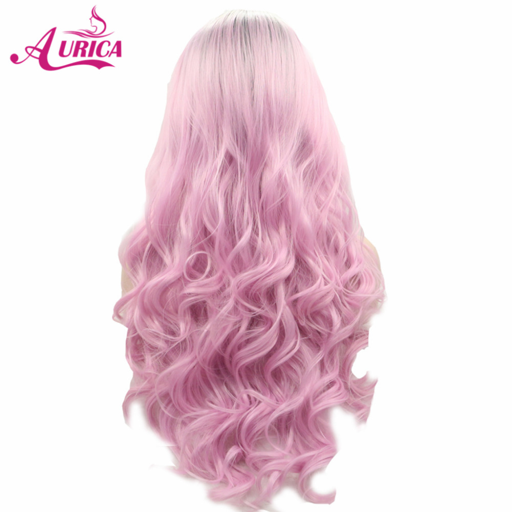 Aurica Ombre Pink Heat Safe Synthetic Hair Lace Front Wig with Short Dark Roots