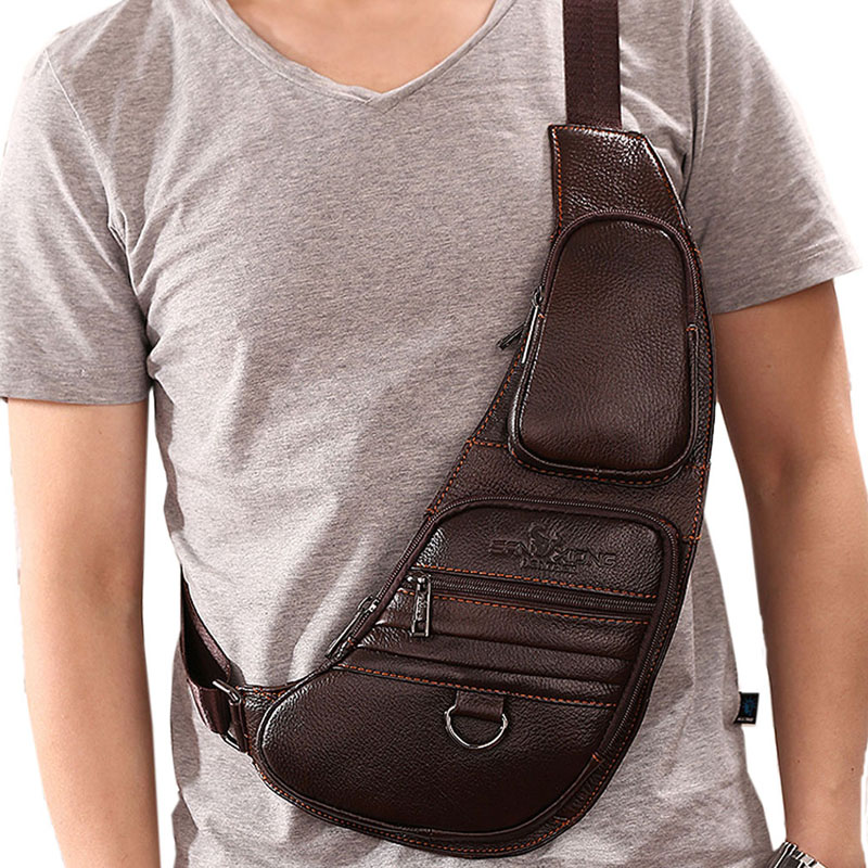 font b Men b font Cowhide Genuine Leather Sling Chest font b Bag b font