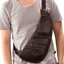 Männer Rindsleder Echtes Leder Sling Brust Tasche Kreuz Körper Messenger Schulter Reise Rucksack Vintage Retro Mode Brust Tag Pack